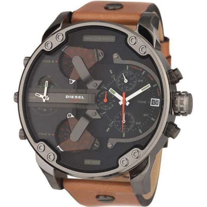 diesel montre chronographe quartz dz7332 bracelet cuir homme marron tendance achat vente. Black Bedroom Furniture Sets. Home Design Ideas