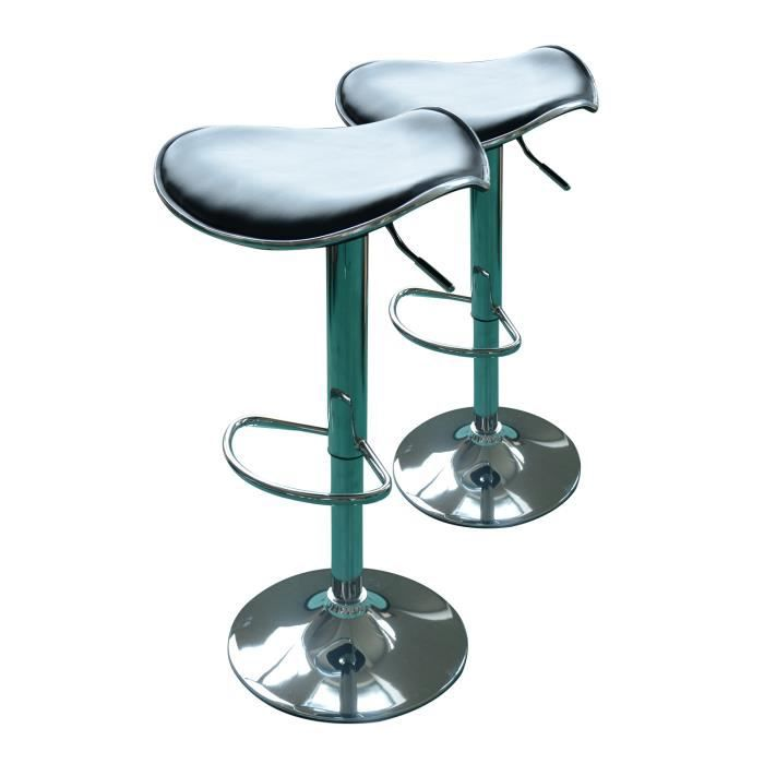 lot de tabourets de bar pivotant hauteur r glable achat vente tabouret pu acier chrom. Black Bedroom Furniture Sets. Home Design Ideas