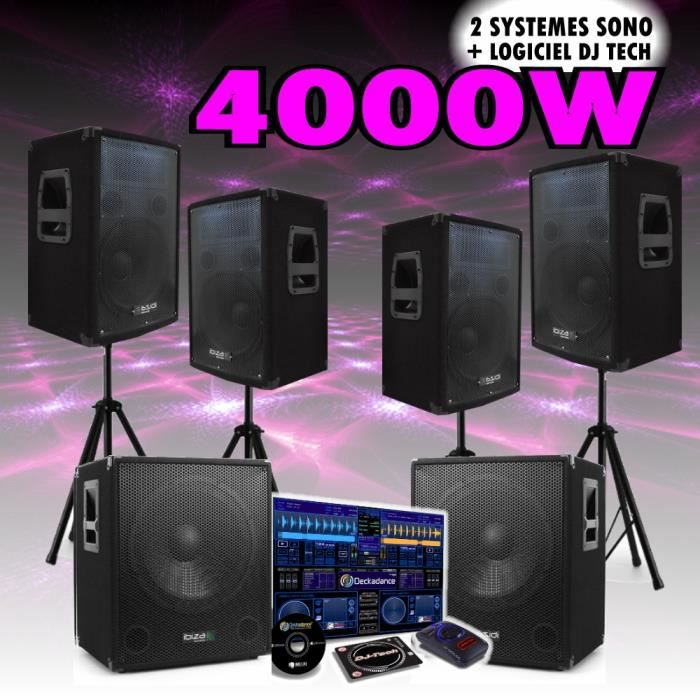 pack sono amplifie 4000w logiciel dj tech pack sono avis et prix pas cher cdiscount. Black Bedroom Furniture Sets. Home Design Ideas