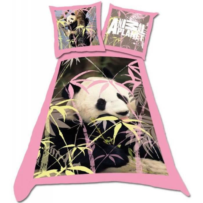 parure de lit 1 personne panda couleur rose achat vente parure de drap. Black Bedroom Furniture Sets. Home Design Ideas