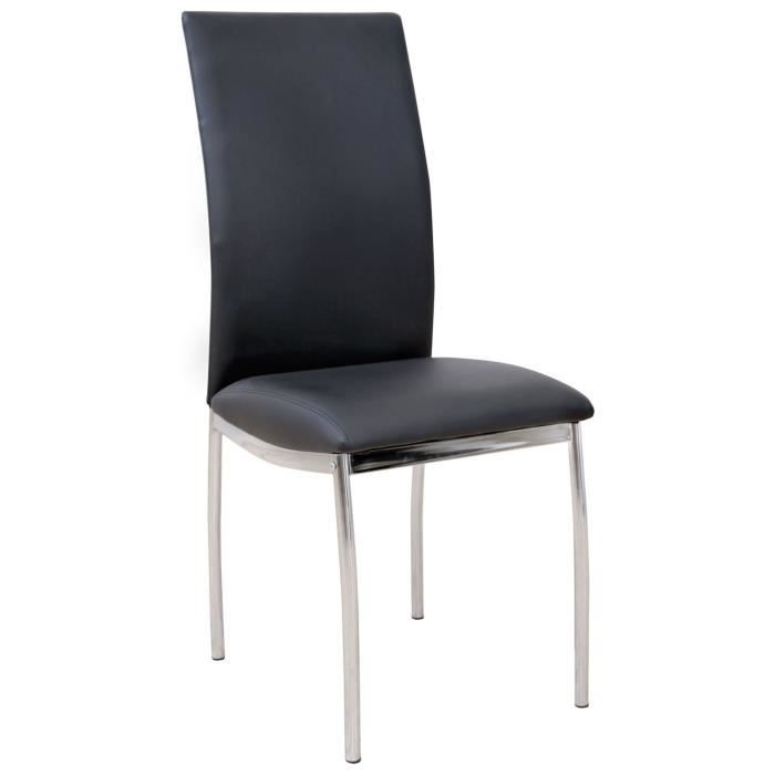Chaise de salon en acier chrom coloris noir 42 x 48 x 95 for Chaise de salon