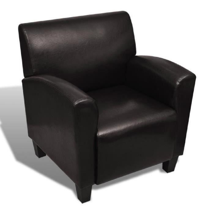 FAUTEUIL Fauteuil en Cuir PU Brun foncé design ergonomique