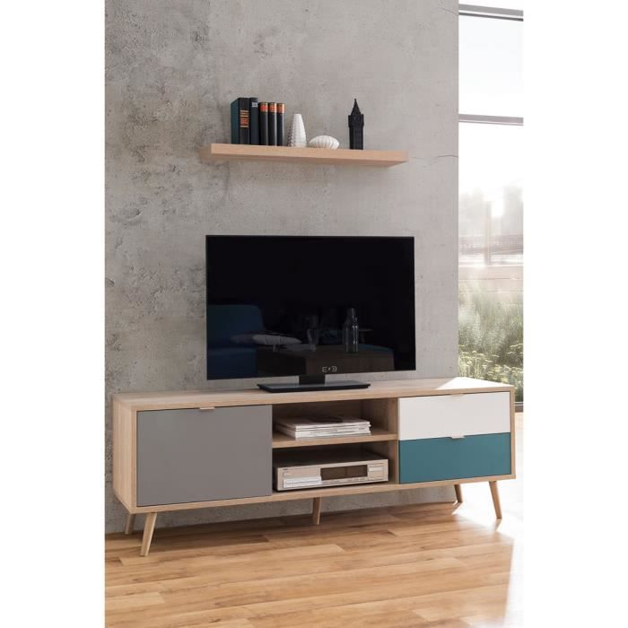 meuble tv 1 porte 2 tiroirs anave style scandinave - Meuble Style Scandinave