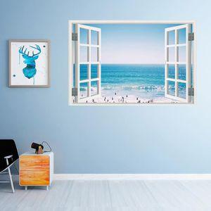 Autocollant mural 3D amovible en vinyle dune fausse fen/être avec une vue sur la mer