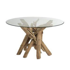 TABLE À MANGER SEULE Table à manger ronde 128x128x75 cm en bois flotté