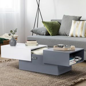 TABLE BASSE Table basse coulissante MARIA blanc et gris
