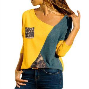 T-SHIRT Femme T-shirt Manche Longue Tee-shirt Jaune Bleu L