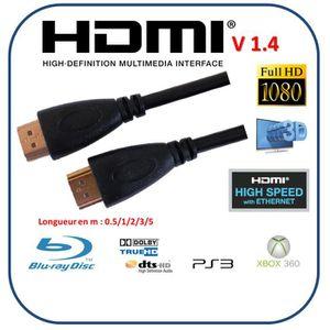 CÂBLE TV - VIDÉO - SON Cable HDMI rond 1.4V 2.00m noir