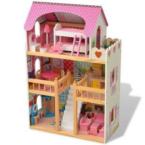 MAISON POUPÉE Maison de poupées à trois étages Bois 60 x 30 x 90