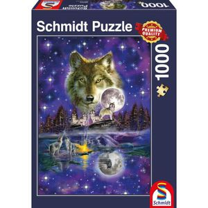 PUZZLE SCHMIDT and SPIELE  Puzzle Adulte Loup au clair de