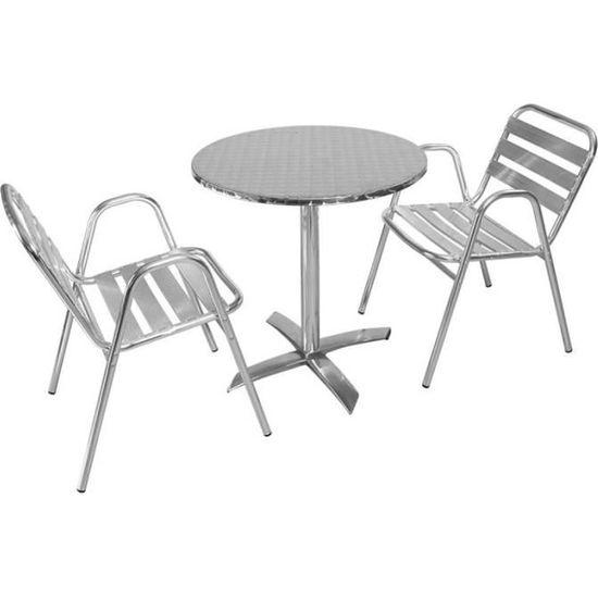 Salon Table de jardin ronde 2 personnes en alu type bistrot terrasse