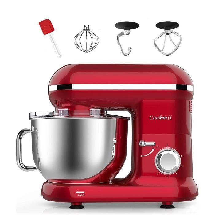 Cookmii Robot Pâtissier, Robot Petrin, Robot Cuisine Multifonctions, Pétrisseur, Mixeur avec Bol d'Acier inox 5.5L Max 1090W (Rouge)