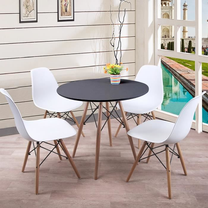 YIS Ensemble Table à manger en Bois Ronde + 4 Chaises - Design Scandinave - pour Salle à Manger, Balcon, Cuisine ou Bureau