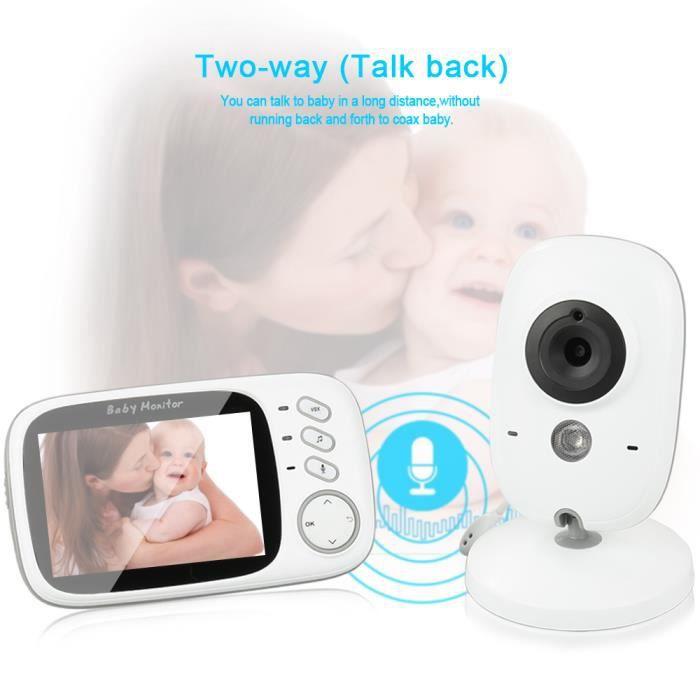 3.2-Baby Monitor Moniteur LCD sans fil pour bébé avec caméra Baby Light Monitor Numerique Sans Fil Ecoute Bebe
