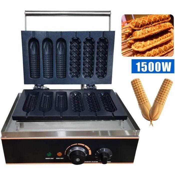 Gaufrier pour des gaufres pour faire des hot-dogs, appareil à gaufres anti-adhésive avec 6 trous