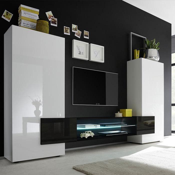 Meuble tv mural blanc et noir laqué LUXOR Avec éclairage