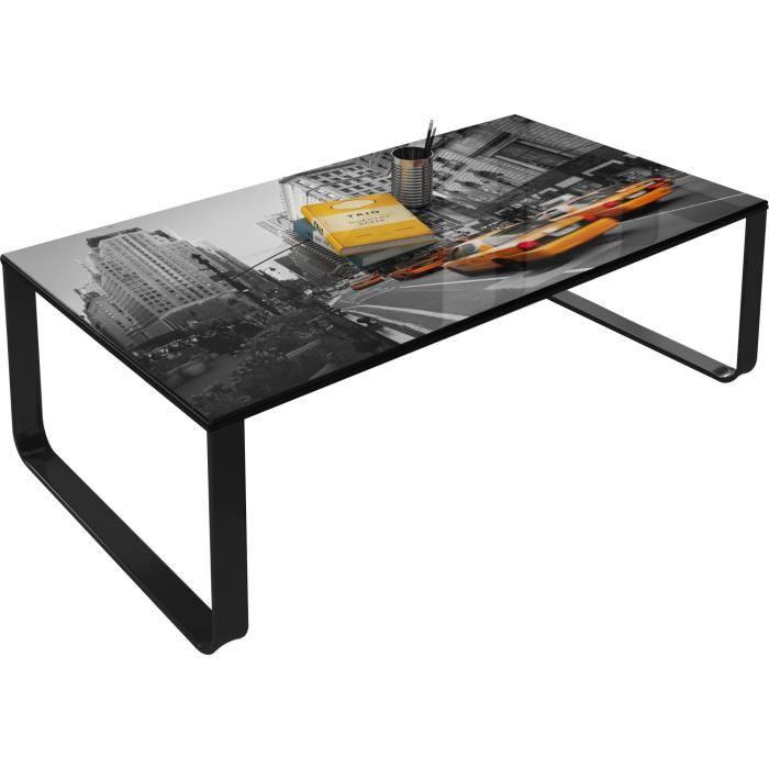 Table basse vintage gris en verre trempé sécurit L. 105 x H. 32 cm Collection Beekhuis Gris