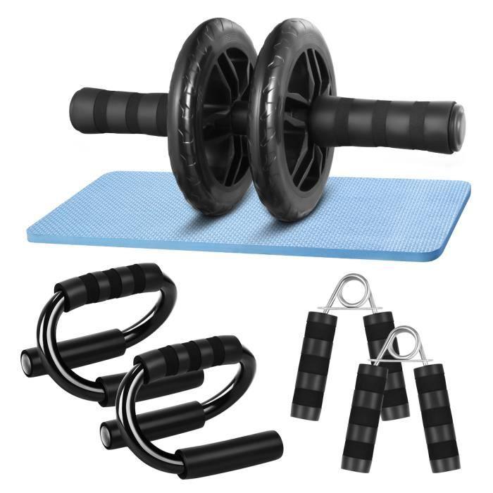 3 en 1 Roue abdominaux abdos Exercice Appareil Abdominal Fitness + Tapis Genoux , Kit d'entraînement abdominal Clispeed Rouleau roue
