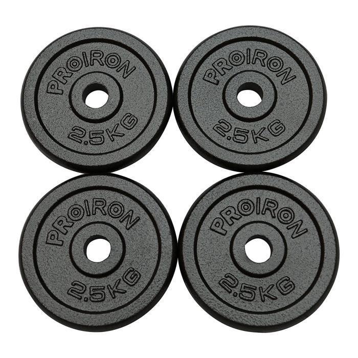 PROIRON Plaques de poids de fonte de fer 1.25kg, 2.5kg, 5kg, 10kg pour 1 -barre de poignée d'haltère