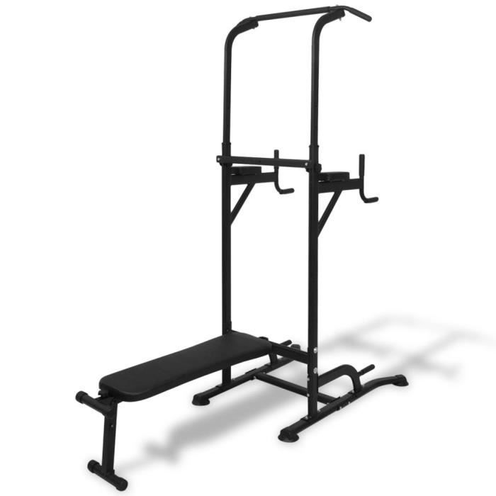 Tour de musculation Barre de traction ajustable Banc de Musculation Gymnastique - avec banc d'assise