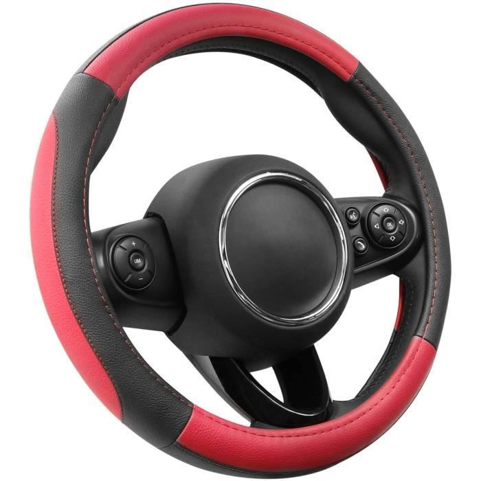 Couvre Volant Rouge Et Noir Microfibre Cuir Diamètre S 35.5-36 Cm