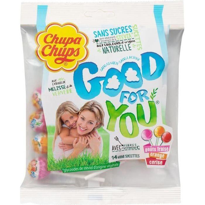 CHUPA CHUPS Sachet de 14 mini sucettes sans sucres Good for You