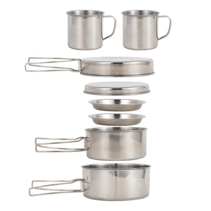 Kit de batterie de cuisine de camping 8 pièces POPOTE - VAISSELLE - COUVERTS