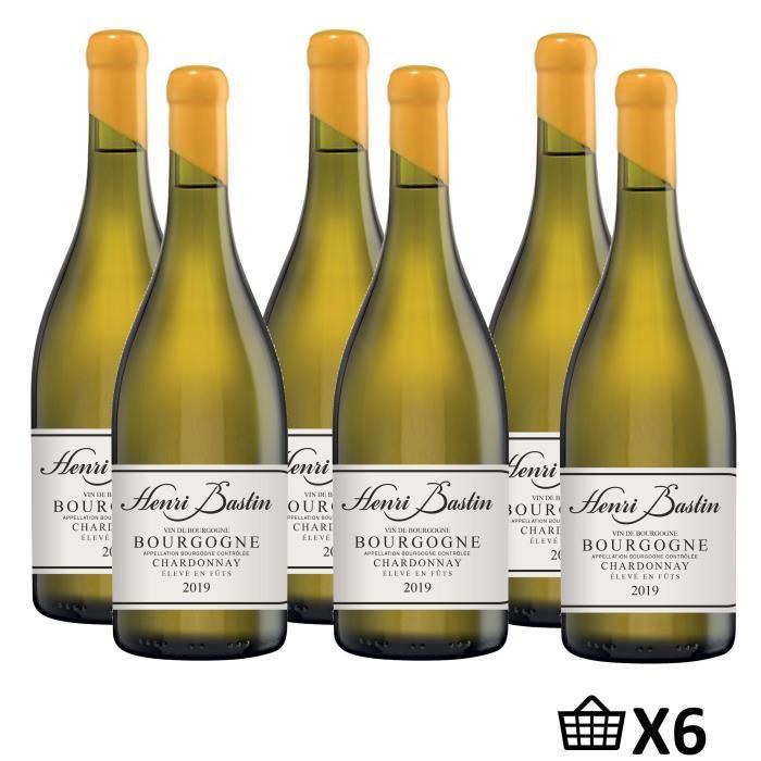 Maison Henri Bastin 2019 Bourgogne Chardonnay -Vin Blanc de Bourgogne Elevé en Fûts de Chêne AOP 6X75cl