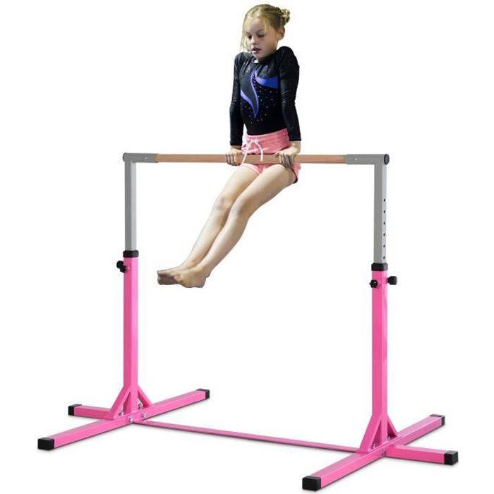 Barre fixe de gymnastique enfant - barre de gymnastique hauteur réglable 11 niveaux 95 à 145 cm - acier rose bois massif hêtre