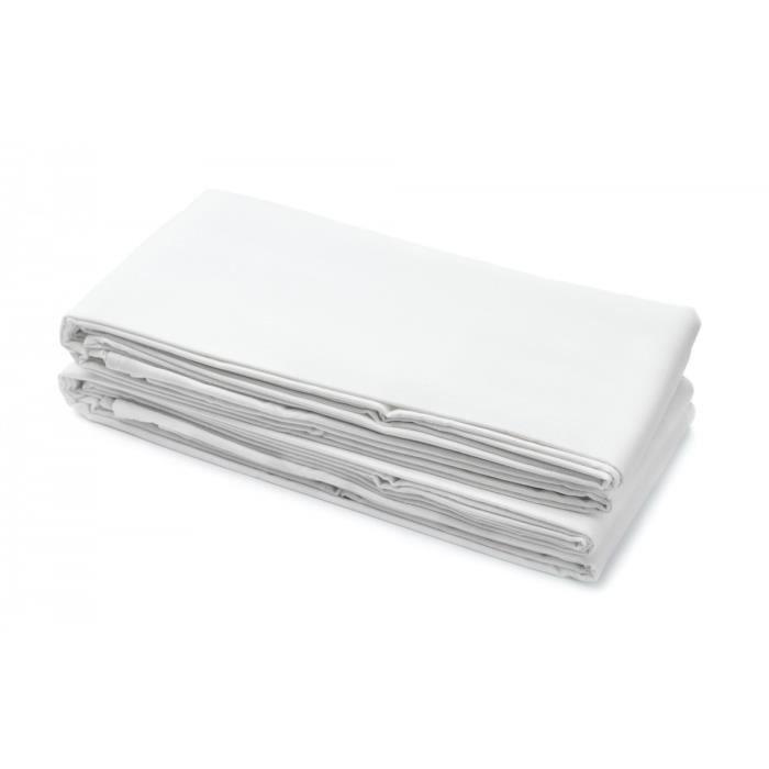 Drap plat 100% Coton 180x290 cm blanc