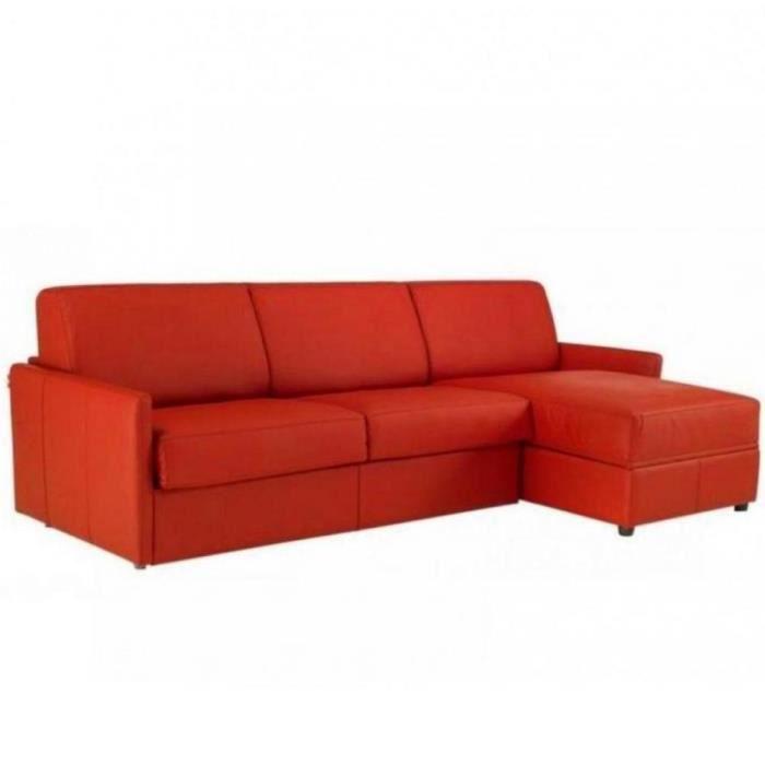 Canapé d'angle SUN convertible ouverture EXPRESS 140cm polyuréthane rouge rouge Similicuir Inside75