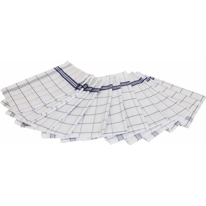 LINANDELLE - Lot de 12 torchons essuies verres carreaux - Bleu