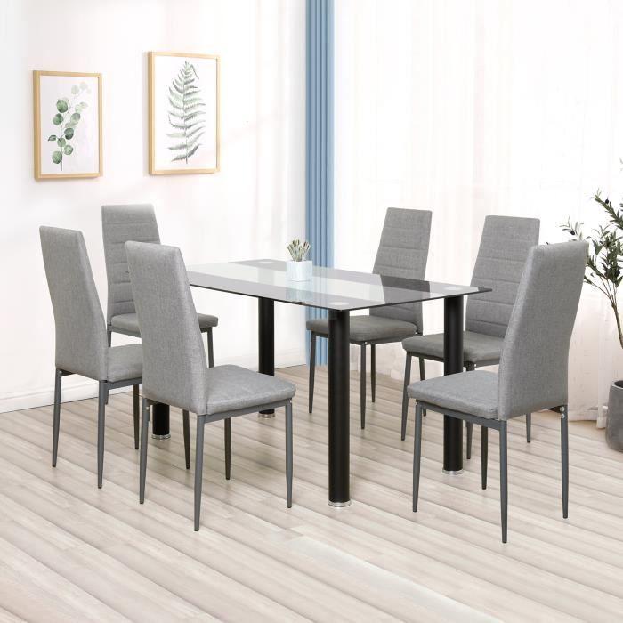 Lot de 8 chaises de salle à manger en simili, Chaise de cuisine,tissu, Style contemporain, gris, 8pcs-Mondeer