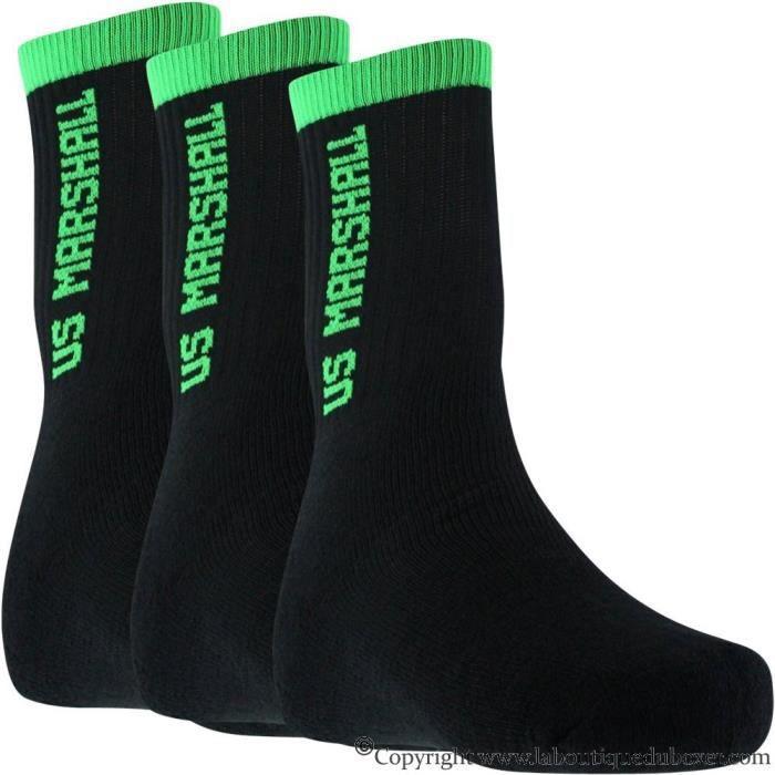 OFFICIAL US MARSHALL Lot de 3 paires de Chaussettes Garçon Coton FLUO Noir Vert