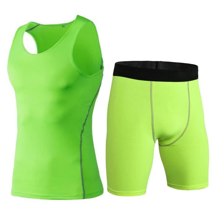 Ensemble Débardeur de Sport Stretch et Short de Compression Homme Vêtement Entraînement