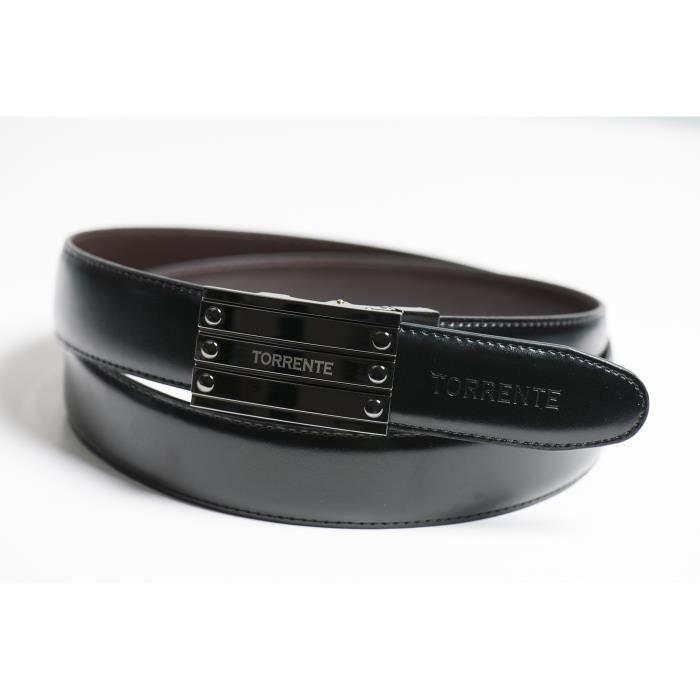 Torrente - Ceinture Reversible Noir/Marron - Cuir - Taille Ajustable - Boucle détachable - Ceinture homme Couture 20