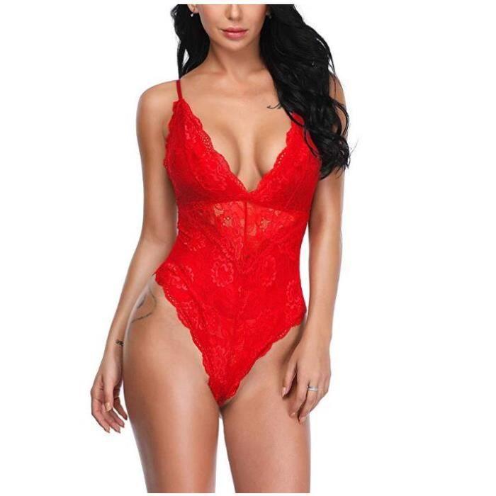 Femme Lingerie Sexy lady Deep V Body de dentelle sexy Sna-p Crotch Lingerie Teddy Underwear Nighwear Robe de Maille Rouge