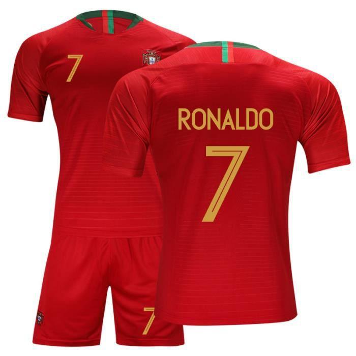 Portugal Maillot de Foot Short Football Soccer Maillot Equipe de Portugal NO.7 Cristiano Ronaldo 2018 2019 Pas Cher pour Homme