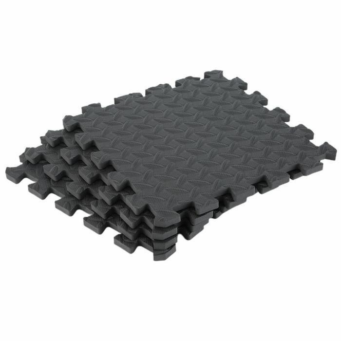 Tapis de protection de sol – 8 dalles en mousse - Matelas puzzle pour matériel fitness, gym, musculation - 30.5*30.5cm - noir