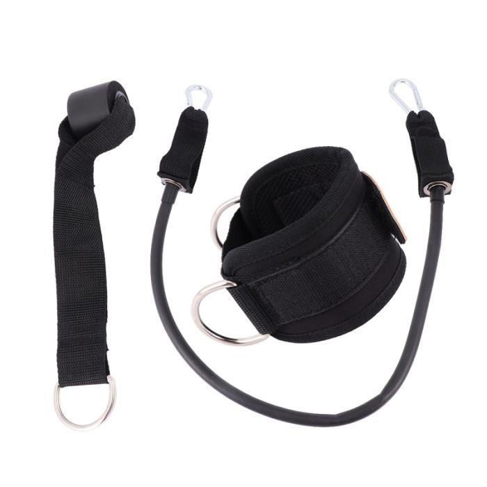1 jeu de corde de tension d'anneau de pied d'entraînement durable noir de boucle de jambe de liaison pour le sport