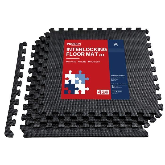 PROIRON Tapis de Protection de Sol - 4 Dalles en Mousse avec Bordures - EVA Matelas Puzzle 60x60 cm