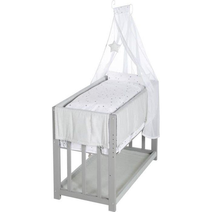 ROBA Berceau cododo -Sternenzauber- 3 en 1, lit bébé gris, avec accessoires de lit complets