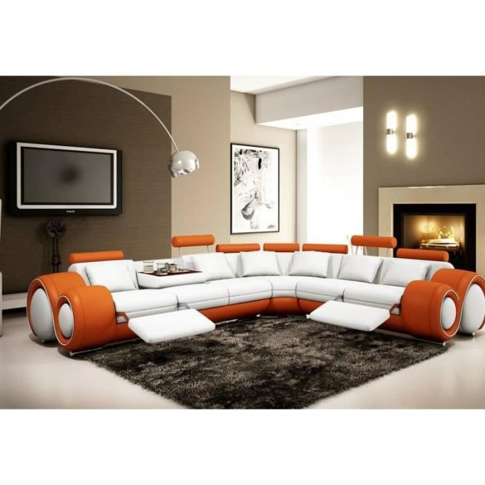 canap d 39 angle cuir orange et blanc relax achat. Black Bedroom Furniture Sets. Home Design Ideas