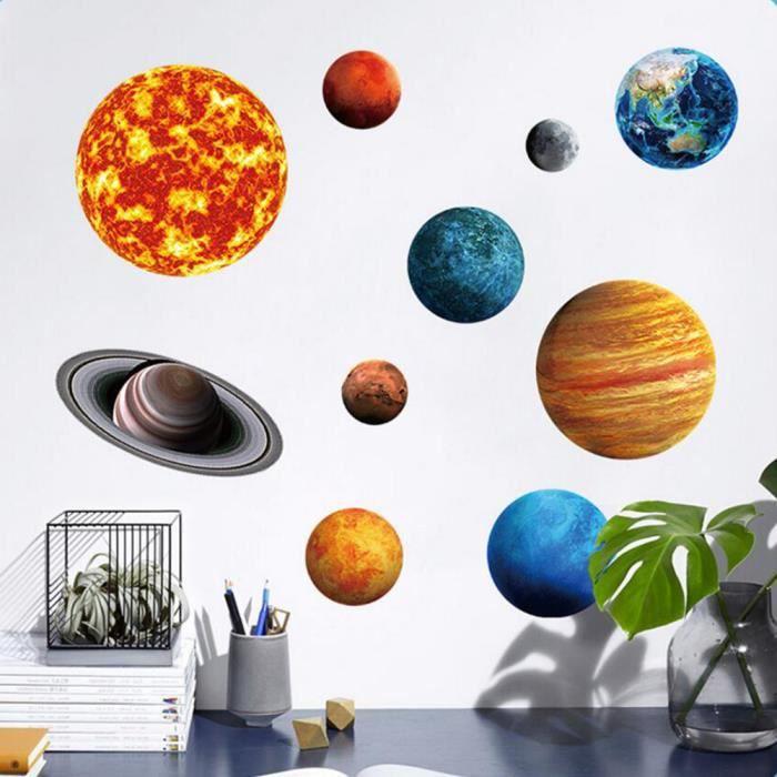 pour les Enfants Chambre /à Coucher Salle de S/éjour P/épini/ère B/éb/é 9 Planets Syst/ème Solaire Fluorescent Wall Stickers Bricolage D/écoration Autocollant Mural Lumineux