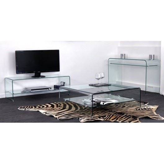 console meuble tv et table basse rectangul glass achat. Black Bedroom Furniture Sets. Home Design Ideas