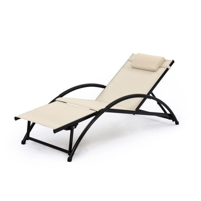 chaise longue de jardin pliable korfu beige achat vente chaise longue chaise longue de. Black Bedroom Furniture Sets. Home Design Ideas