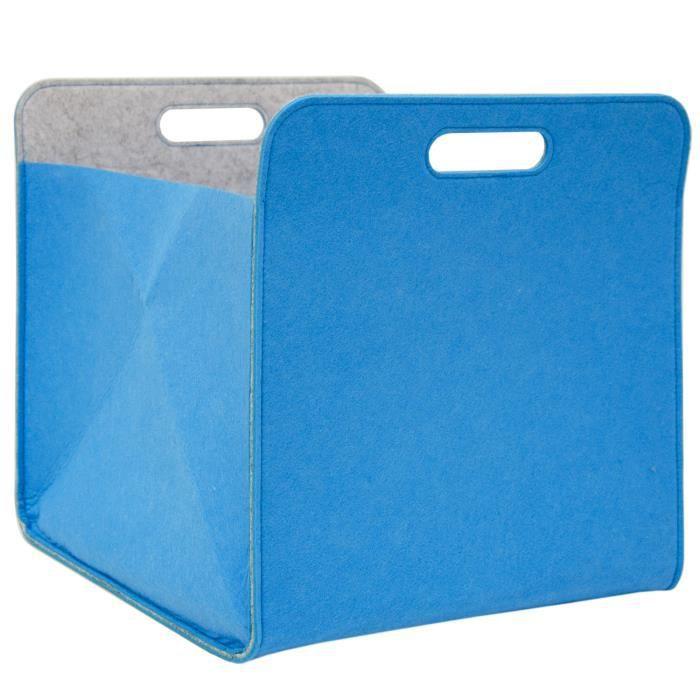 Boite De Rangement Feutre 33x33x38 Cm Kallax Panier Feutrine Etagere Ikea Bleu Achat Vente Corbeille Paniere Soldes Cdiscount