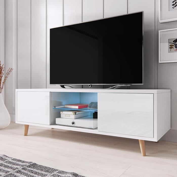 meuble tv rivano blanc mat blanc brillant avec led bleue achat vente meuble tv meuble tv. Black Bedroom Furniture Sets. Home Design Ideas