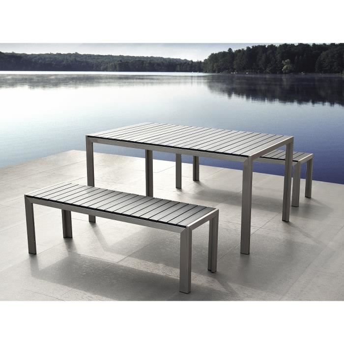 table de jardin aluminium gris plateau en polywood 180 cm et 2 bancs nardo achat vente. Black Bedroom Furniture Sets. Home Design Ideas