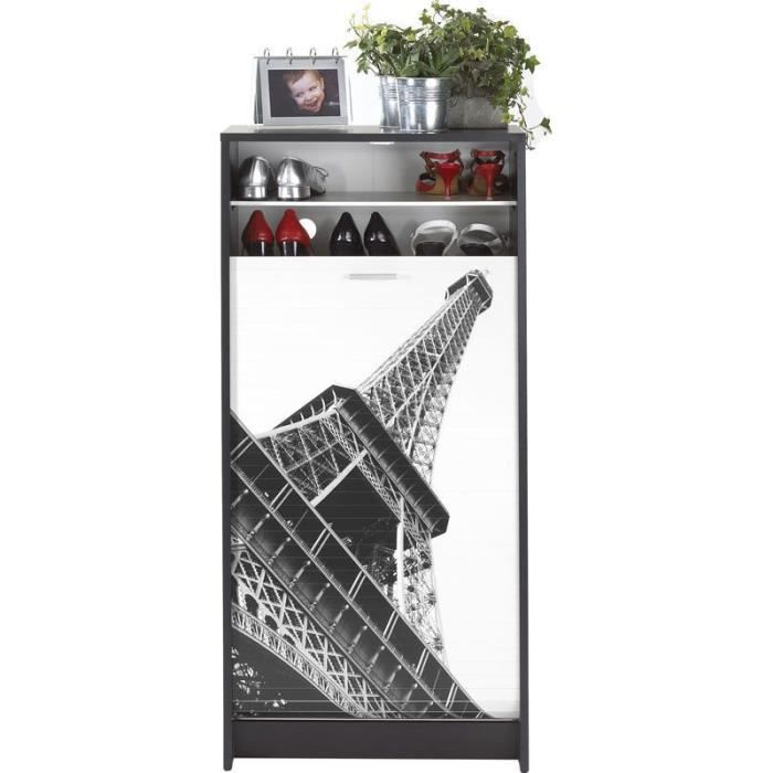 meuble chaussures paris tour eiffel noir achat vente meuble chaussures meuble. Black Bedroom Furniture Sets. Home Design Ideas